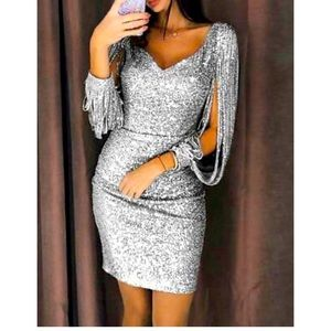 Women's Fringe Sleeve Glitter Dress Sz XS